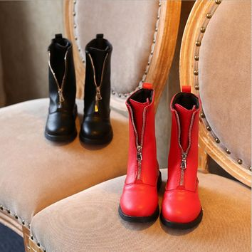 Girls Leather Boots Chaussure Enfant Children Boots Girls Boys Winter Shoes Kids Rain Boots PU Leather High Boots