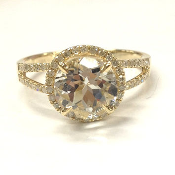 8mm White Topaz Engagement Ring 14K Yellow Gold!Diamond Wedding Bridal Ring,Round Cut VS Natural Gemstone,Claw Prongs,Custom matching Band