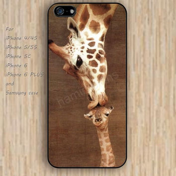 iPhone 5s 6 case watercolor giraffe kissing baby colorful phone case iphone case,ipod case,samsung galaxy case available plastic rubber case waterproof B514