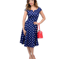Hell Bunny 1950s Style Navy Blue & White Polka Dot Antoinette Swing Dress