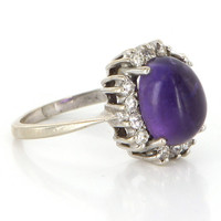 Vintage 14 Karat White Gold Amethyst Diamond Cocktail Ring Fine Estate Jewelry