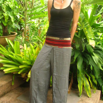 Boho Hippie Grey Flare Cotton Split Trousers Aladdin Alibaba Harem Yoga Pants | eBay