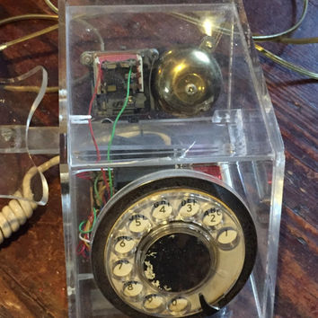vintage 50s/60s working clear lucite rotary dial telephone with phone jack