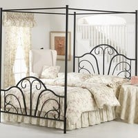Montana Textured Black Full Bed Set with Canopy and Legs