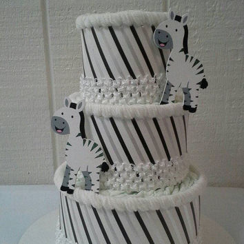 Zebra Elegant Themed Baby Shower Decor Creative Black and White Stripes 3 Tier Diaper Cake Table Centerpiece Baby Gift