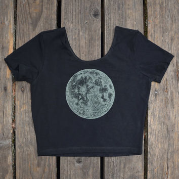 Glow in the Dark Full Moon and Zodiac Fitted Short Sleeve Crop Top  - Sacred Geometry - Yoga Wear