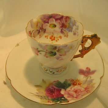 Vintage Fakira China Porcelain Footed Teacup and Saucer Floral with Gold Trim