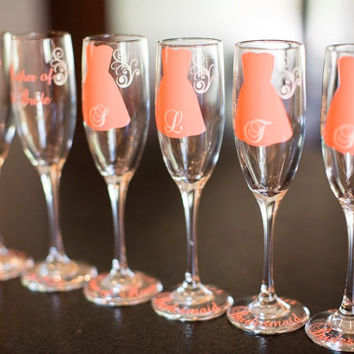 9 Personalized Bride and Bridesmaid Champagne Glasses, Wedding Party Glasses