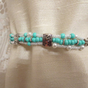Triple Strand Turquoise & Pearl Beaded Toggle Bracelet Women Silver Chic Summertime Jewelry