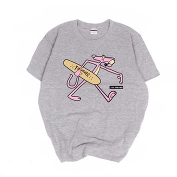 2017 New Summer Street Women Men T Shirt Tees BF Style Skateboard Pink Panther Casual Loose Tops Couples T shirts Clothing AB034