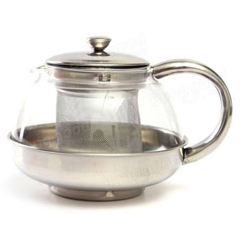 600ML Stainless Steel Modern Infuser Teapot Herbal With Filter Heat Resistant Glass Coffee Pot