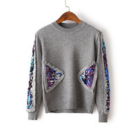 Grey Sequin Detail Crew Neck Sweater