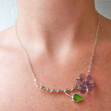 Purple Tourmaline Flower Necklace - Carved Tourmaline - Jade Necklace - Carved Jade - Carved Gemstone Necklace - Sterling Silver Necklace
