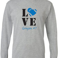 Football mom shirt.  Personalized with player's name and number. Long sleeve. Football love.