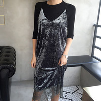 Velvet Dresses Slip Backless Spaghetti Strap Long