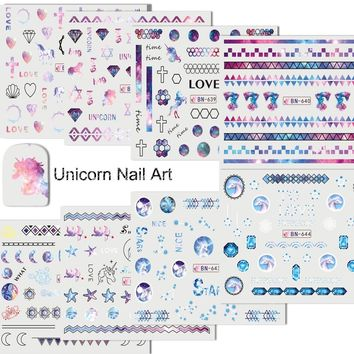 12 pcs/Set Cute Unicorn Nail Art Water Stickers Decals Nail Decorations Beauty Pigment Manicure Water Slide Tattoo TRBN637-648