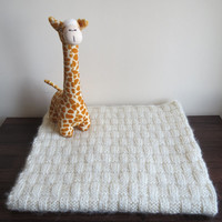 Hand Knit 'Basket Weave' Baby Blanket in 'Pure Baby White'