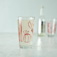 Crafty pint glasses, red - set of 2 -Scissors, snippers, pincushion, knitting needles, crochet hook, thread spools and cones