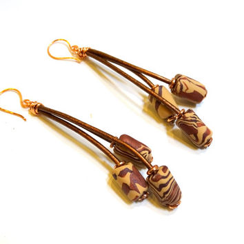 Copper leather and animal print clay bead drop earrings, Boho chic, rustic earrings, leather jewelry, leather earrings,dangle earrings