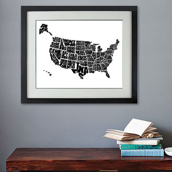 USA Word Map - A Black and White Typographic Map of the United States of America