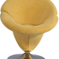 Chrome/Yellow Velvet Swivel Arm Chair