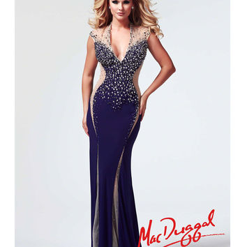 Mac Duggal 2014 Prom Dresses - Deep Purple Jersey & Illusion Cut Out Prom Gown