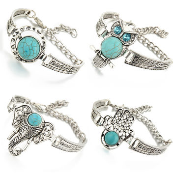 Great Deal Shiny New Arrival Stylish Gift Awesome Hot Sale Vintage Bohemia Turquoise Owl Bracelet [6368948548]
