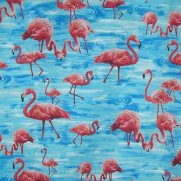 Flamingo Print Pure Cotton Fabric by Timeless Treasures--One Yard