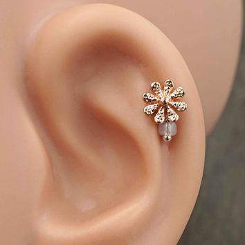 Daisy Rose Gold Cartilage Earring Tragus Helix Piercing