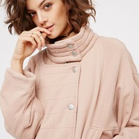Free People Oversized Knit Quilted Jacket
