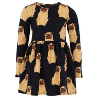 Black Dress With All Over Pug Print