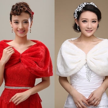 Large Size Ivory Red Faux Fur Shawl Bolero with Pearls For Bridal Wedding Dress Prom Party US6-10 UK8-12 EU38-42 = 1932247172
