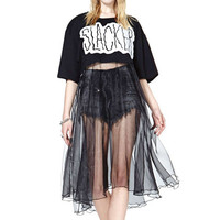 Black Slacker Print Half Sleeve Ruched Mesh Cropped Dress