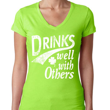 DRINKS well with others women Sporty V Shirt  saint patricks day