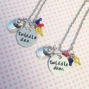 Twiddle Dee And Twiddle Dum Best Friends Necklaces - Alice In Wonderland Inspired Jewelry - Best Friends Forever Jewelry - Sister Jewelry