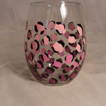 pink ombre leopard print stemless wine glass