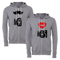 mr mrs mustache lips matching couple zipper hoodie