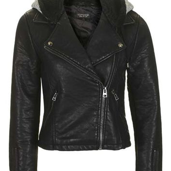 Hooded Faux Leather Biker Jacket