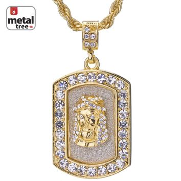 "Jewelry Kay style Men's Hip Hop 14K Gold Plated Jesus Dog Tag 24"" 4mm Rope Chain Pendant Necklace"
