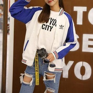 ONETOW Adidas' Women Sport Casual Multicolor Stripe Zip Cardigan Long Sleeve Baseball Clothes Coat