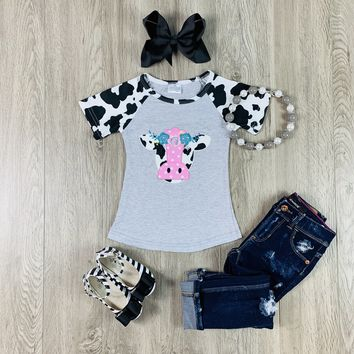 RTS Floral Crowned Cow Shirt D98