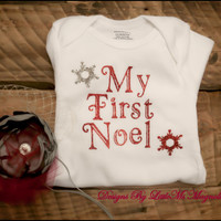 """Christmas, Holiday Onsie For Infants, Baby Girls, Toddler Girls """"My First Noel"""" Undershirt ,"""