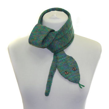 Snake Scarf /  Hand Knit Scarf / Multicolor  / animal scarf