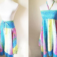handkerchief hem skirt doubles as a sundress in rainbow floral print (small), gypsy style