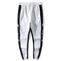 Champion New fashion side embroidery letter sports leisure pants White