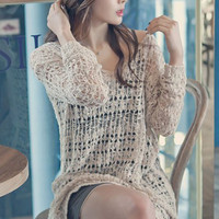 Brown Long Sleeve Crochet Cover Up Dress