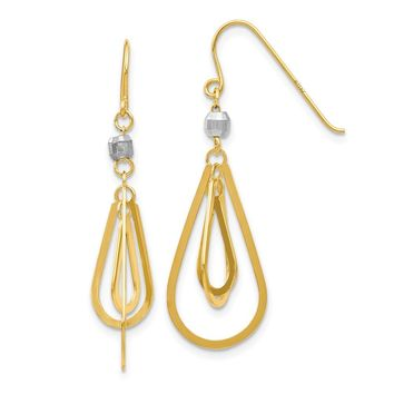 14k Yellow and White Gold Two-tone Tear Drop Earrings Length 33mm