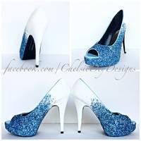 Glitter Peep Toe Pumps, Ocean Blue Ombre Wedding Open Toe High Heels