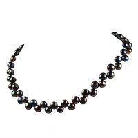 Wedding Pearl Necklace -18 Inches Black Fresh Water Pearl Jewelry