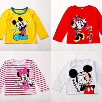 Baby Boys Girls Spring Autumn Minnie Mouse T-shirt Babies Kids Girl Cartoon Long Sleeve Shirt Top Clothing